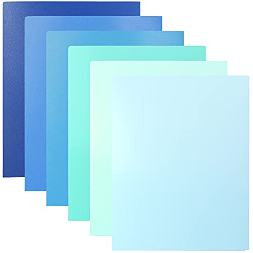 Youngever 12 Pack Heavy Duty Plastic Two Pocket Folders, Heavy Duty Plastic 2 Pocket Folder, Coastal Colors