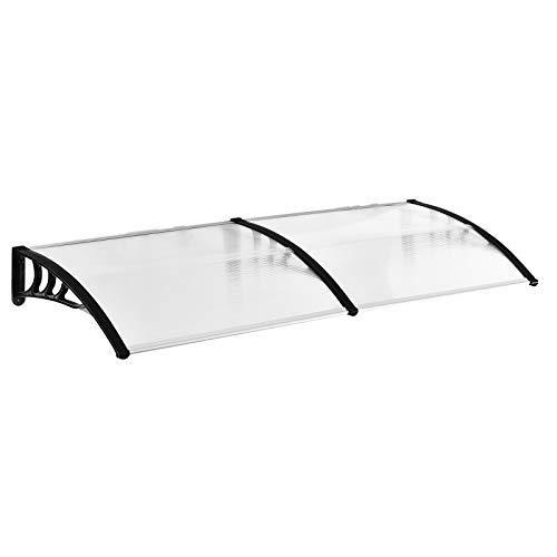 Outsunny Pultvordach Vordach für Haustür 80x195x23 cm Überdachung 5mm Polycarbonat Sonnenschutz Regenschutz für draußen Alu Transparent