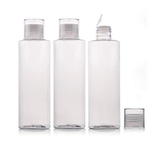 3 botellas de agua de plástico transparente recargables vacías de 250 ml con tapa de doble tornillo para , botella recipiente portátil para cosméticos para viajes y vida cotidiana