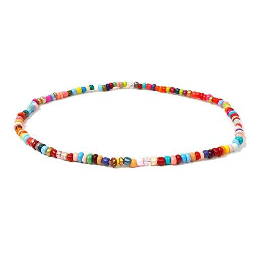 LKYH Handgemachte Perlen Elastic Choker Halskette Böhmische Perlen Kette Halsketten für Frauen Sommermode Schmuck