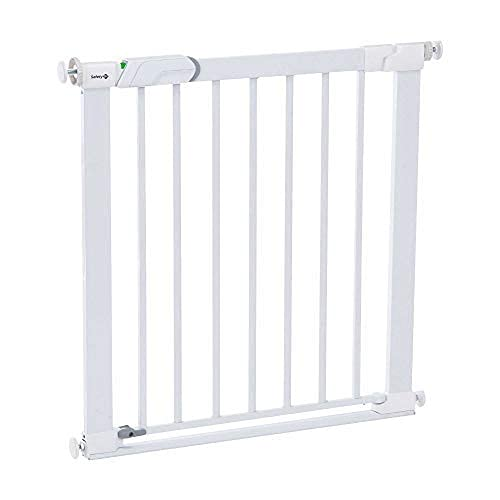 Safety 1st Easy Close Metal - Barrera de seguridad bebés, niños y perros, metálica para puertas y escaleras, puerta de seguridad 80 cm hasta 136 cm con extensiones, color blanco ✅