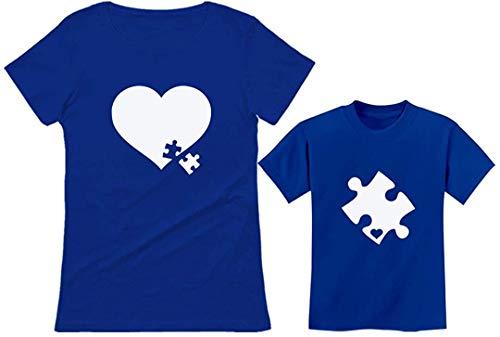 Quafoo Camisetas de concientización sobre el Autismo a Juego Puzzle Piece Heart Set Mom Toddler Camisetas para niños, Mother Blue/Kid Blue, Mother X-Large/Kid 3T