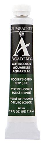 Grumbacher Academy Watercolor Paint, 7.5ml/0.25 oz., Hooker's Green Deep Hue (A106)
