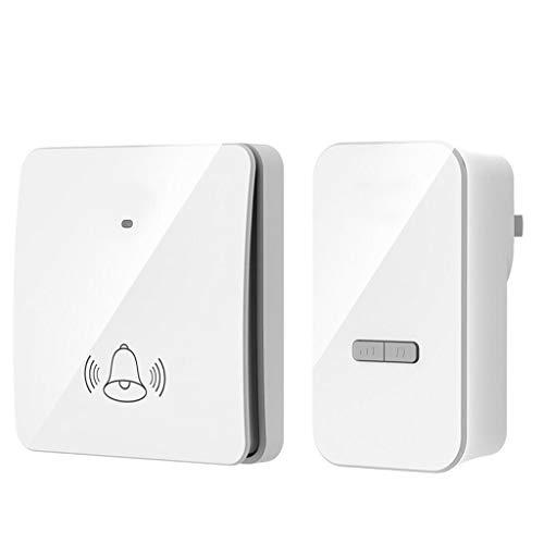 ZXJTX Receptor Impulsado autónomos Wireless Home Timbre Timbre de la Puerta Impermeable Set 1 Receptor enchufable y 1 botón de generación de Ser (Blanco) Enchufe Timbre Kit