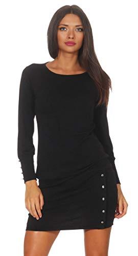 Mississhop 629 Damen Kleid Longshirt mit Knöpfen Tunika figurbetont Cocktail Dress 36 38 40 42 45 Schwarz S