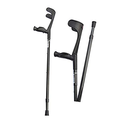 QULONG Antebrazo muleta aleación de Aluminio, Open Cuff muletas, ErgoDynamic Codo Ruta muletas, Regulable en Altura, luz fácil de Llevar, Hombres/Mujeres con Agarre cómodo