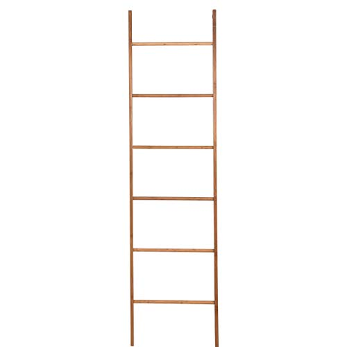BUTLERS Big Bamboo Dekoleiter mit 6 Ebenen, 180 x 48 cm - Holz-Leiter aus Bambus, MDF - Praktischer Handtuchhalter
