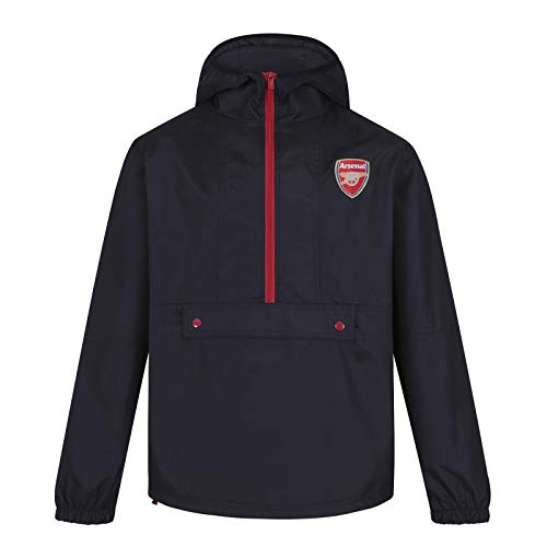 Arsenal FC Official Gift Mens Half Zip Shower Jacket Windbreaker Black Medium