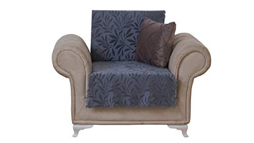 Chiara Rose Couch Covers for Dogs Sofa Cushion Slipcover 3 Seater Furniture Protectors Futon Cover, Armchair, Acacia Smoke