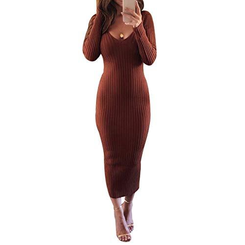 Bodycon Kleid für Damen - Mode Einfarbig Slim Fit A-Linie Strickkleider Frauen Lange Ärmel Gestrickte Kleider Bleistift-Kleid Kleidung Strassenmode...
