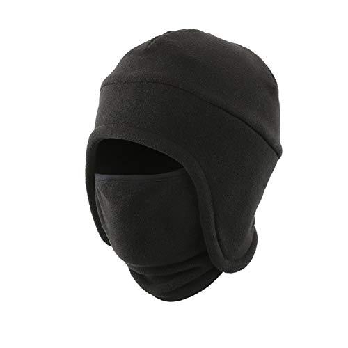 LLmoway Men's Warm 2 in 1 Hat Winter Fleece Earflap Skull Sports Beanie Ski Mask Windproof Cap Black