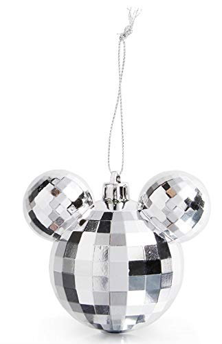 Licensed Disney Mickey Mouse Silver Baubles Hanging Decoration Xmas Tree