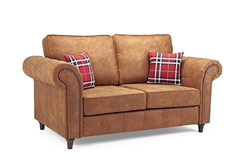 Honeypot - Sofa - Oakland - Faux Leather - 2 Seater - Tan Suede - Cushions Included