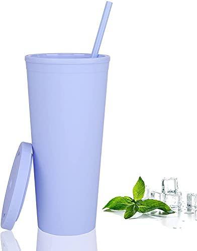Aiboria Trinkbecher mit Deckel und Strohhalm, 700 ml, helle Farbe, Thermobecher, doppelwandig, Acryl, Kunststoff, Wasserbecher für kalte Getränke, Zuhause, Büro, Auto, Kaffeetasse (hellblau)