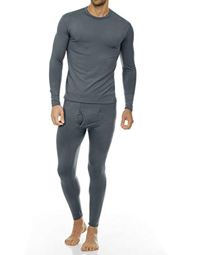 Thermajohn Men's Ultra Soft Thermal Underwear Long Johns Set with Fleece Lined (Large, Charcoal)