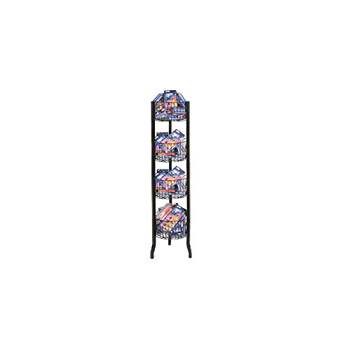 4-Tier Metal Round Vertical Floor Standing Shelving Unit - Stackable Fruit Basket Utility Rack, Market/House Storage Organizer bin for Kitchen, Bathroom, Closet - Black Finish