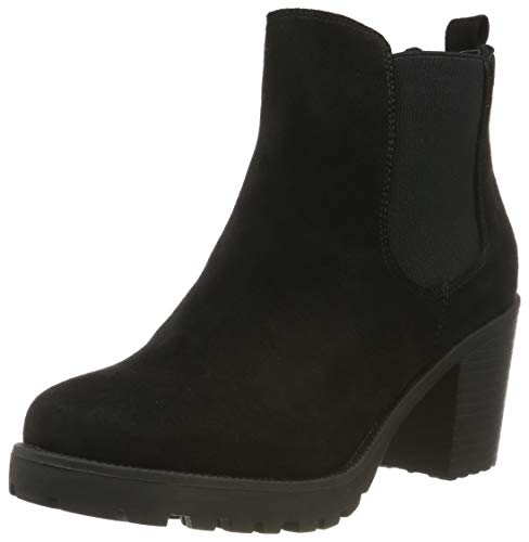 stiefelparadies Damen Stiefeletten Chelsea Boots Wildleder-Optik Schuhe High Heel Booties Profilsohle 105430 Schwarz 37 Flandell