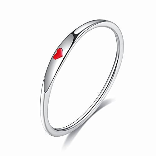 KnBoB Anillo de Compromiso Plata 925 Anillo de Pareja Corazón Accesorio de Joyería para Mujer - Rojo Talla 17