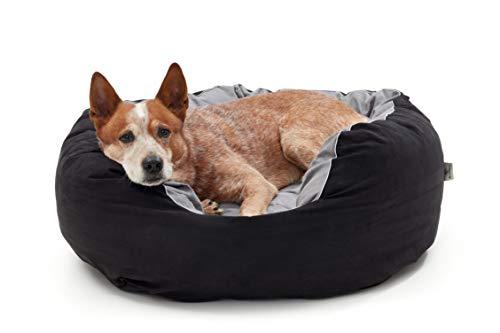 Woofery - Hundebett Dorie – rutschfest mit Reißverschluss 80 cm Schwarz/Grau