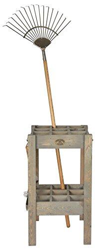 Esschert Design Gartengeräteständer, 42 x 42 x 75 cm, aus Holz, mit 9 Stellplätzen für Rechen, für Spaten, mit Hängehaken für Gartenwerkzeug