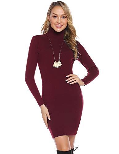 Abollria Vestito Maglione Donna Invernali Collo Alto Abito Casual a Maglia Manica Lunga per Inverno Vestito Aderente, Rosso Vino, S