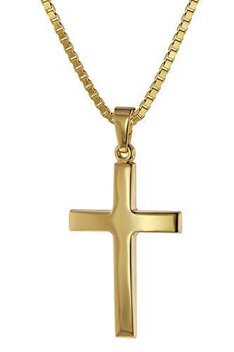 trendor Kreuz-Anhänger Gold 333 (8 Karat) + Goldplattierte Kette Damen und Herren Halskette, Gold Anhänger, zeitloser Kreuz Anhänger aus Echtgold 75263-45 45 cm