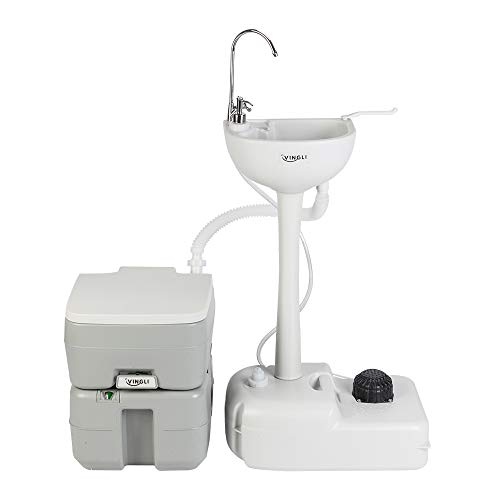 VINGLI Upgraded Portable Sink and Toilet Combo  Self-contained 5 Gal Hand Washing Station & 5.3 Gal Flushing Toilet