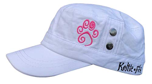 Keltic Fire Unisex Cadet Cap Short Brim Ranger Military Style Hat with Celtic Design Dog/Cat Paw Print Made for Pet and Animal Lovers (White w/Pink Paw)