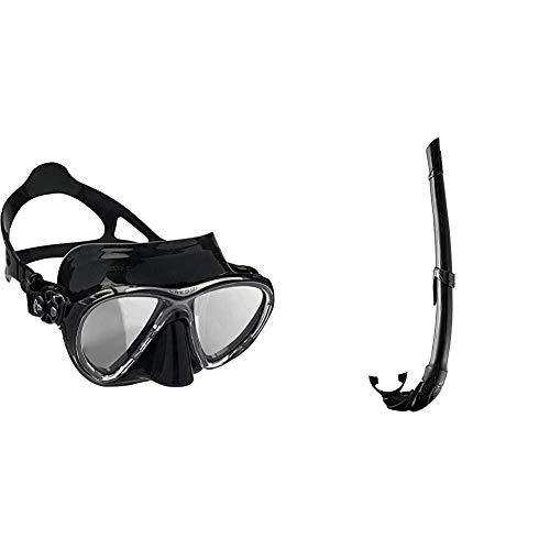Cressi Big Eyes Evolution, Maschera Subacquea di Alta qualità Unisex & Corsica, Snorkel Flessibile per Apnea, Pesca Subacquea, Snorkeling e Immersioni Unisex – Adulto, Nero/Nero