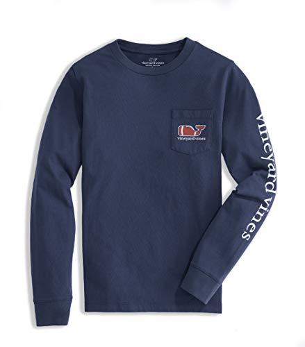 Vineyard Vines Boys' Long-Sleeve Football Whale Pocket T-Shirt, Blue Blazer, 2T