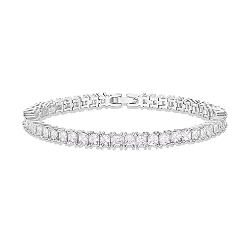 PAVOI 14K Gold Plated Cubic Zirconia Classic Tennis Bracelet | White Gold Bracelets for Women | 3mm CZ, 6.5 Inches