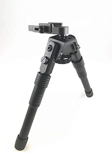 """Ahlmanstr Rifle Bipod 8.5""""-12.25"""" Heavy Duty Aluminum T6061 Swivel and Pivot Bipod Adjustable Height Anodized Black Color for Shooting Range"""