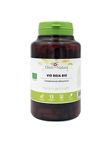 Vid Roja Bio 200 cápsulas de Dieti Natura. Tonifica y refuerza las paredes venosas [Fabricado en Francia][Certificado ecológico FR-BIO-01][Garantía Sin OGM ni Gluten] (Bote de 200 cápsulas)