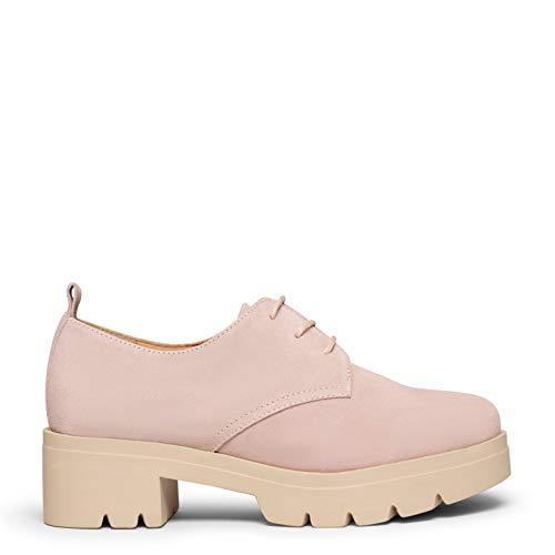 CANDEM Zapatos con Cordones con tacón y Plataforma Rosa Palo