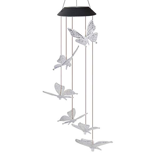 Fashion Fairy Lights, Wind Chime Butterfly Led Lights, Solar String Lights for Lawn Garden Party Decoration Coffee Shop (Color : Style A)