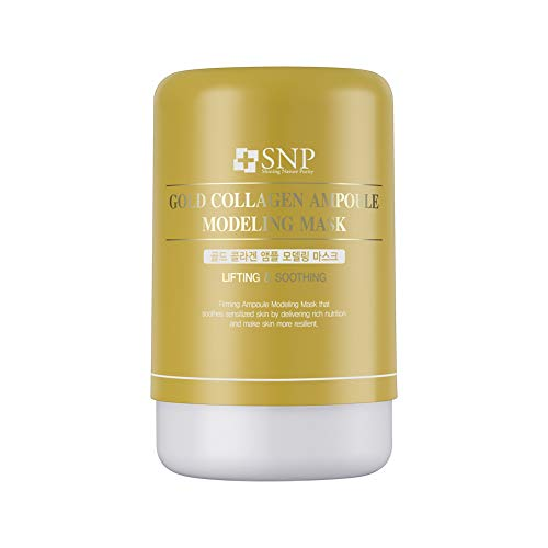 SNP - Gold Collagen Ampoule Anti-Aging Korean Modeling Mask - Plumps & Tightens Using Real 24K Gold for All Skin Types - Great for Travel - Separated Ampoule & Mineral Mixing Pouches Make 4 Masks