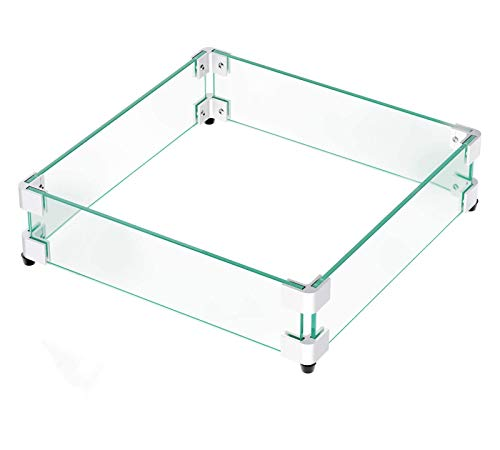 "GASPRO Fire Pit Wind Guard, 17.5 × 17.5 Inches Glass Wind Guard Square for 28"" Square Fire Pit Table and 12"" Square Drop-in Fire Pit Pan, Clear Tempered Glass 5/16inch Thick"