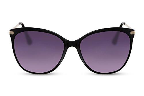Cheapass Sonnenbrille Cat-Eye Schwarz Designer-Brille UV-400 Katzenauge Groß XXL Metall Damen Frauen