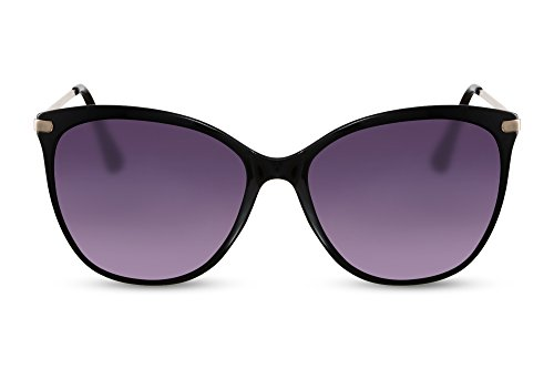 Cheapass Gafas de Sol Ojos de Gato Negras Diseño UV-400 Grandes XXL Metálicas Mujeres Hombres