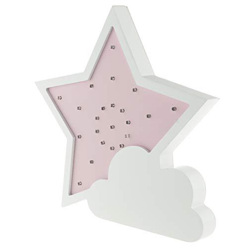 Baoblaze Luz de Noche LED 3D Pared Niños Niños Lámpara Regalo Decoración para El Hogar Luz Cálida Estrella - Rosado 1