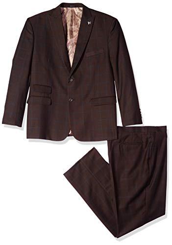 STACY ADAMS Men's 3-Piece Peak Lapel Plaid Windowpane Vested Suit, Brown, 40 Long