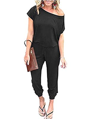 ANRABESS Women's Loose Solid Off Shoulder Elastic Waist Stretchy Long Romper Jumpsuit with Pockets 203heise-M WFF03