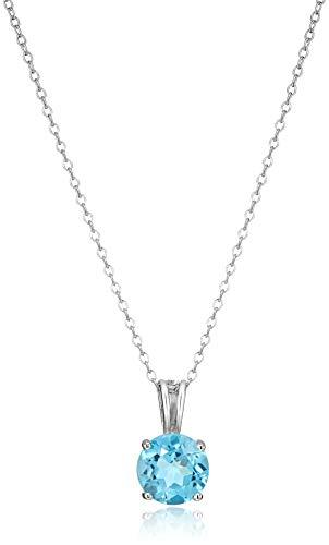 "Amazon Essentials Sterling Silver Round Cut Swiss Blue Topaz Birthstone Pendant Necklace (December), 18"""