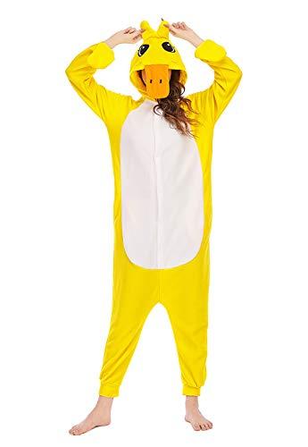 Animal Pijamas Adulto Cosplay Disfraz de Pato Amarillo Talla 146-159cm(S)
