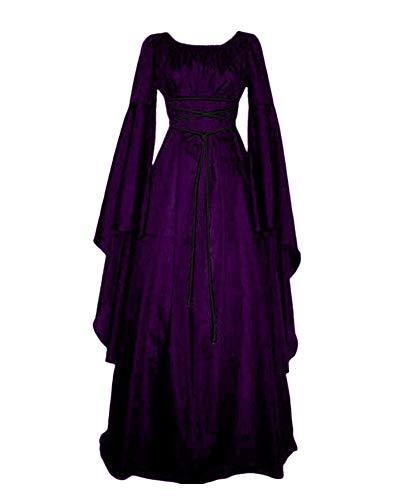 PengGengA Vestito Vestito Cosplay Medievale da Donna Abito Lungo retrò Costume di Halloween Viola S