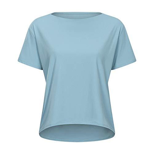 JQAM Camiseta Deportiva de Manga Corta para Mujer, Transpirable, de Yoga, de Manga Corta, Ligera, de Secado rápido (Color : Blue, Size : 4)