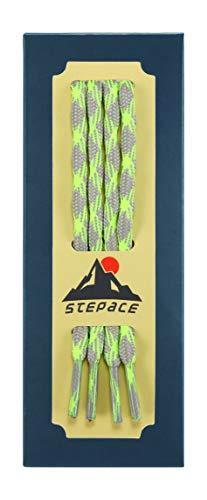 Stepace Rund Schnürsenkel für Trekkingschuhe Wanderschuhe Arbeitsschuhe - 15 Farben, 5 Längen, 5.5mm Durchmesser Gray Neon green-140