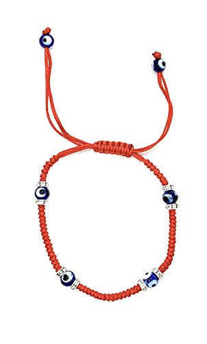 Weaved String Contemporary Kabbalah Bracelet with Blue Evil Eye and Crystals for Protection and Blessing (Red)