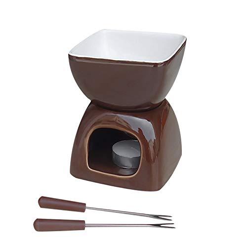 LFANH Fonduta Tazza Mini Cioccolato Ceramica Fonduta Pentola Fuso Cioccolato Votive Candele E Fonduta Forchette per Formaggio O Accessori Fonduta al Cioccolato