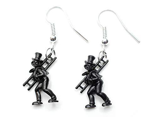 Fin de Ano Kaminkehrer pendientes Miniblings deshollinador talisman de Ano - banado en plata hechos a mano de joyería de moda pendientes pendientes I